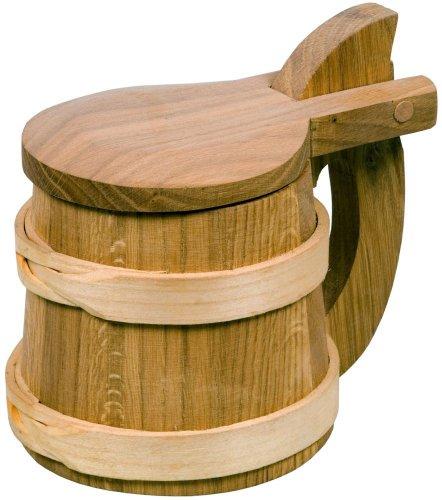 Hofmeister Holzwaren Bierhumpen Wikinger, mit Deckel, aus Kirschbaum-Holz und Eichenholz