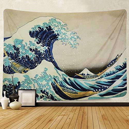 Amkun, Arazzo, Da parete, Stampa della 'Grande onda' di Kanagawa, Decorazione domestica, Per il soggiorno o la camera da letto, Adatto anche come telo da spiaggia, Wave, 150x130cm