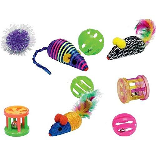 12x Katzen Spielzeug Wurfspielzeug Federn Maus Glocke Haustier Ball Fell Puschel