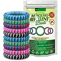 ECOTRONIK Natural Mosquito Repellent Bracelet Bug Bands 10 PACK - DEET FREE Waterproof Mosquito Wristbands KEEP AWAY Insects & Bugs, Safe for Children