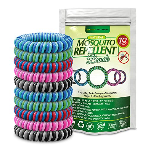 Mosquito Repellent Bracelet – Double Colored Insect Repellent Bands – Deet Free, All Natural – Suitable For All (Kids & Grown Ups) – Indoor & Outdoor Protection – Travel Insect Repellent – Waterproof Wrist Bands – (10 Pack)