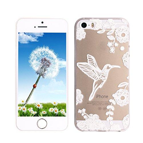 Coque iPhone 6S, SpiritSun Housse Étui TPU Silicone Clair Transparente Ultra Mince Souple Douce Coque pour Apple iPhone 6 6S (4.7 pouces) avec Motif Tribal - Lotus Fleur Bleu Oiseaux et Fleurs