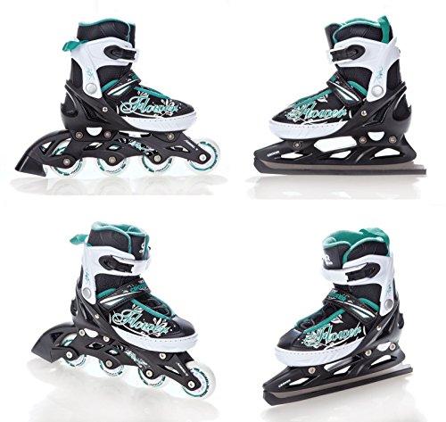 2in1 Schlittschuhe Inline Skates Inliner Croxer Flower Black/Green verstellbar Größe: 37-40