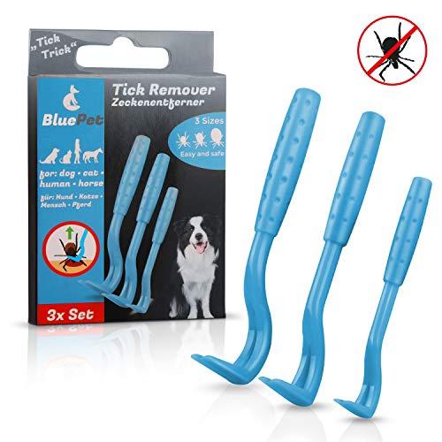 Bluepet Tick-Trick 3X Set Zeckenhaken Zeckenentferner   Sicherste Methode um Zecken zu entfernen   Für Jede Zeckengröße   Einfacher als Zeckenzange Zeckenschlinge