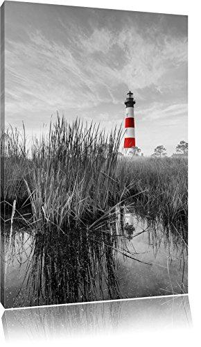 Bodie Island Lighthouse in North Carolina schwarz/weiß, Format: 40x60 auf hochkantiges Leinwand, XXL riesige Bilder fertig gerahmt mit Keilrahmen, Kunstdruck auf Wandbild mit Rahmen, günstiger als Gemälde oder Ölbild, kein Poster oder Plakat