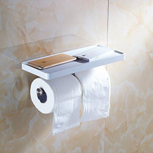 Beelee Doubles Porte-Papier Toilette en acier inoxydable avec Etagere pour Telephone 31*13*7cm,Peinture Blanc