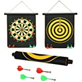 Shanbuyers High Magnetic Power With Double Faced Portable And Foldable Dart Game With 4 Colourful Non Pointed Darts, Fun Gift For Kids, Party Fun Game, 12-inch (Multicolour)