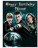 personalisiert Harry Potter Essbarer Zuckerguss Kuchen Topper 4Größen - Hochformat