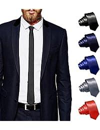 ShopLuvOnline Combo Set of 5 Slim Men's Tie, Necktie For Him Birthday B'day Gift, Black tie, Grey Tie, Navy Blue Tie, Royal Blue Tie & Red Tie