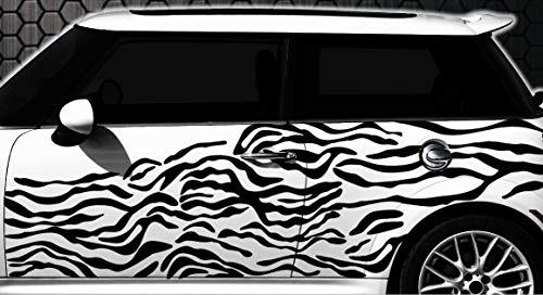 HR-WERBEDESIGN Zebra Pixel Cyber Camouflage XXL Set Auto Aufkleber Sticker Tuning Wandtattoo (Zebra-auto Aufkleber)