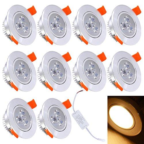 HJ® 10 piezas Downlight empotrable LED de 3W para salas de estar...
