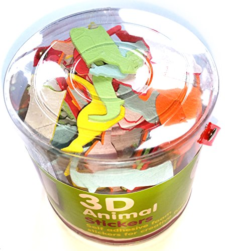 Adesivi 3D in gommapiuma a forma di animali, confezione da 100, per bambini, ragazzi e (Appliance Prodotti)
