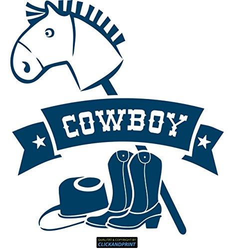 CLICKANDPRINT Aufkleber » Bannerschriftzug: Cowboy - Pferd, Hut & Stiefel, 130x118,6cm, Metallic Türkis • Dekoaufkleber / Autoaufkleber / Sticker / Decal / Vinyl