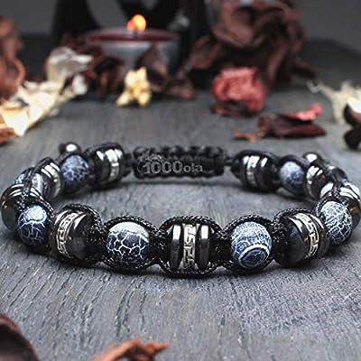 Bracelet Homme Taille 21-22cm Style Shambala Ø 8mm pierre naturelle Agate Toile d'araignée Hématite perles métal couleur Argent style Tibétain Antique BRADANKI-18