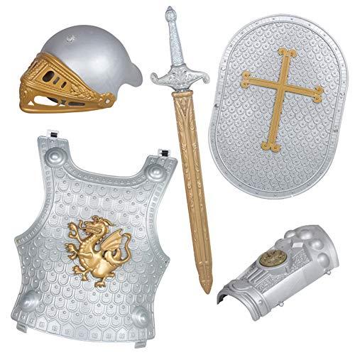 Lvbeis Armatura Cavaliere Medievale-Spada,Scudo,Corazza,Casco,Paramani dell'armatura,Bambini Guerriero Cosplay