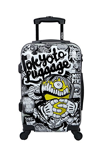 Maleta de cabina Equipaje de mano 55x40x20 Maleta juvenil trolley de viaje Ryanair Easyjet Maleta de viaje Rígida MAD COOL (Preparada para Carga Móviles) TOKYOTO LUGGAGE (SOLO MALETA)