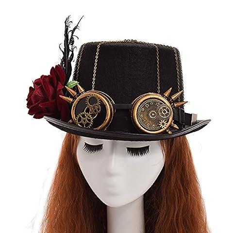 Costumes De Luxe Pour Homme Halloween - GRACEART Victorien Steampunk Haut Chapeau