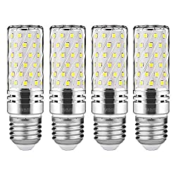 Gezee Led Silver Corn Bulbs E27 15w 6000k Daylight White 120w Incandescent Bulbs Equivalent 1500lm, Non Dimmable Small Edison Screw Candle Bulb, Candelabra Light Bulbs (4 Packs)