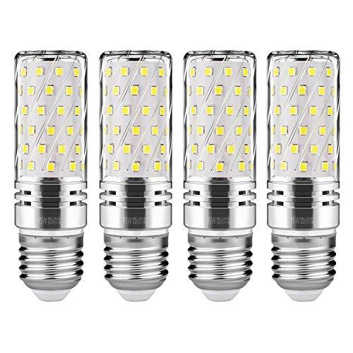 Gezee LED Argento Mais lampadine E27 15W Small Edison Screw Equivalente a 120W 1500Lm Non Dimmerabile 6000K Bianco Freddo Lampadine a candela(4 pezzi)