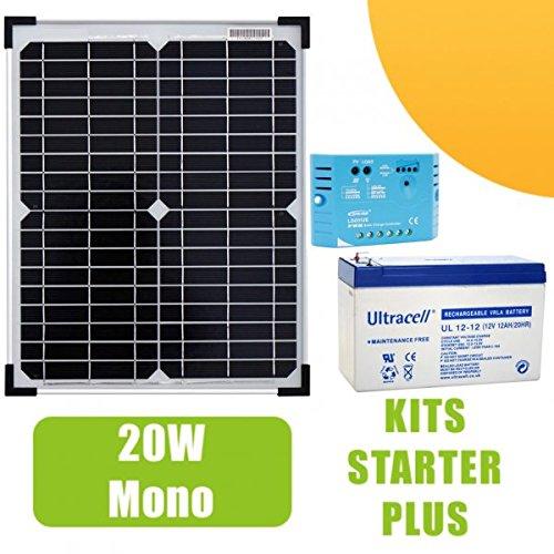 Kit 20W Panel Solar monocristalino. 12V Gama profesional con un regulador 5A, una batería 12V 12Ah. Para pequeñas instalaciones solares necesarios para el funcionamiento de luces, una bomba o de cualquier otro dispositivo en sitio aislado. appri...