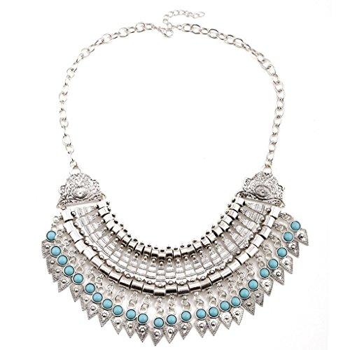 LUFA Boho Gypsy Festival Turkish Coin Collar Bib Choker Statement Necklace sliver&45+5cm