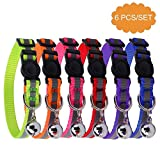 6PCS Reflective Adjustable Cat Collars Safety Quick Release with Bell