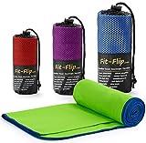Fit-Flip Microfaser Handtuch - Premium Selektion -70x140-green-darkblue