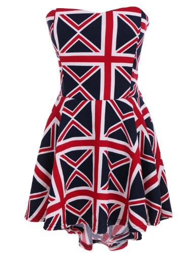 sourcingmap Damen Trägerlos Versteckt Reißverschluss Britisch Union Jack Flagge Niedrig Hoch Saum Kleid - Rot, Damen, XS (Us Flagge Kleid)
