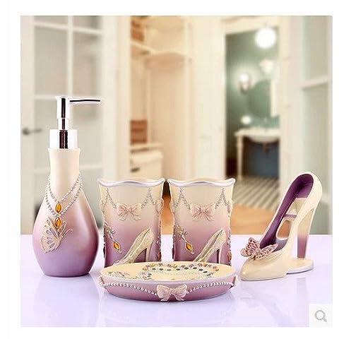 Resina bagno creativi 5 Pezzo confezione elegante stanza da bagno di cortesia dei rifornimenti domestici