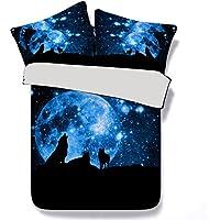 Bettbezug Set 135x200cm 3D Tier Tiger Zebra Wolf Katze gedruckt Bettbezug mit Kissenbezügen Soft Polyester Microfaser Bettwäsche Set für Kinder, Jungen, Mädchen (Blauer Stern Wolf)