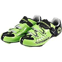Asvert Zapatillas de Ciclismo Carretera Unisex Profesional con Plantilla Antideslizante Amortiguador para Bicicleta al Aire Libre (45, Verde)
