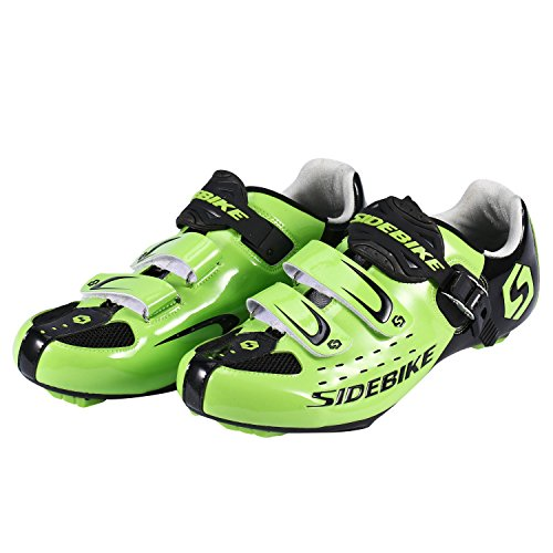 Asvert Professional Unisex Road Cycling Shoes with Non-Slip Shoe Absorber for Outdoor Bike (45, Green)