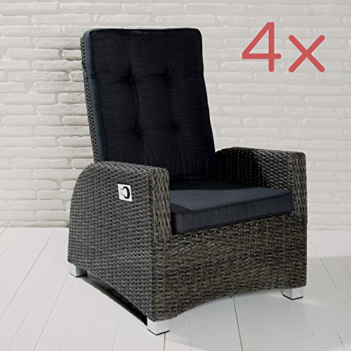 4 Gartensessel Gartenstühle Barcelona Living Rocking grau Gartenmöbel Set Sitzgruppe Stuhlgruppe Garten Terrasse Wintergarten Möbel
