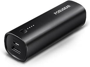 Posugear Powerbank 5000mAh, Externer Akku Power Bank Handy Ladegerät für iPhone 7/7 Plus/ 6s/ 6 Plus/SE, iPad, Samsung Galaxy, Android und Weitere Smartphones (Schwarz)
