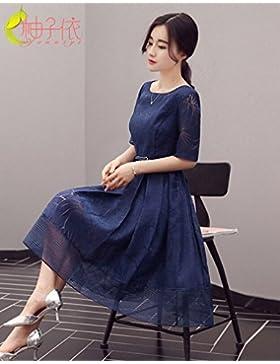 Verano vestidos elegantes de larga falda femenina coreana,S,Marina