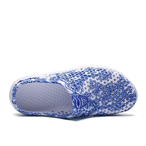 OUTVIE Mesdames Léger Respirant Séchage Rapide Sandales Pantoufles Chaussures de Plage Anti-Dérapant Chaussures de Sabot de Jardin Bleu-Fleurs