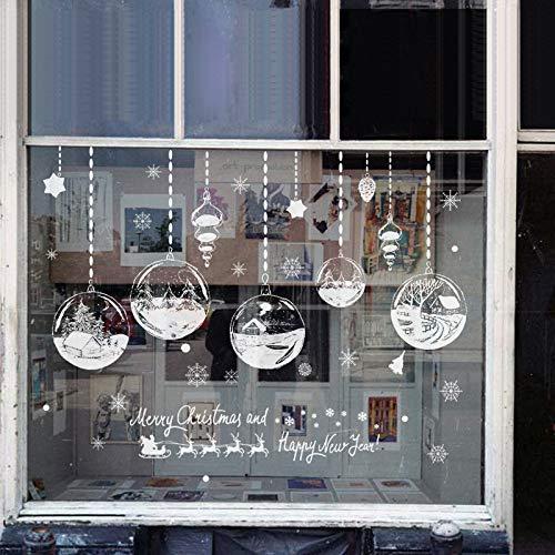 Wohnkultur Weihnachten Fensteraufkleber Selbstklebende Hängende Schneeball Anhänger Jahr Weihnachtsfest Glas wandaufkleber 100x170 cm