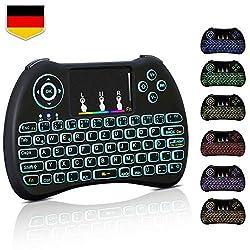 Mini Tastatur Wireless Touchpad Beleuchtet PC Fernbedienung 2.4GHz QWERTZ Deutsch Tastaturlayout 10M Reichweite Tastatur Fernbedienung für Smart TV HTPC IPTV Android TV Box XBOX360 PS3 Raspberry Pi 4