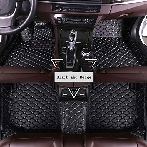 FENGWUTANG Auto Fußmatten Matten,AutoteppicheUniversal Leder Rutschfest Vorne hinten Luxus einstellen,Blackandbeige - Fußmatte Autoteppich, 500 Fiat
