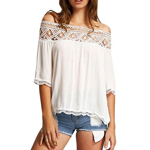 XXYsm Dame Oberteile Sommer Bluse Off Shoulder Spitzen Kurzarm T-Shirt Frauen Crop Top Weste Tank Tops Lässig Oversized Übergröße (L, Weiß)