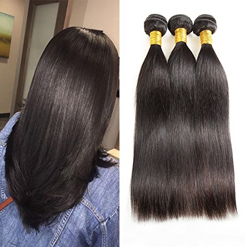 Huarisi Virgin Brazilian Straight Hair 3 Bundles 14 16 18 Inches Grade 7a Remi Human Hair Extensions Packs for Weaving Natural Black Double Weft (Hair Extensions Human Hair Remi)