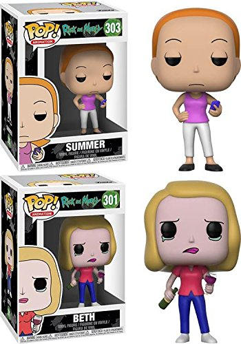 Funko POP! Rick & Morty: Summer + Beth – Stylized Vinyl Figure Set N