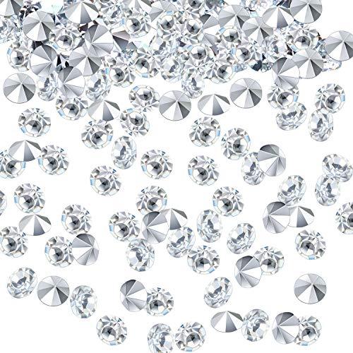 chzeit Tisch Streuung Konfettikristalle Acryl Diamanten Strasssteine für Tafelaufsatz Dekorationen Hochzeitsdekorationen Brautduschen Dekorationen Vase Perlen (Silber, 3 MM) ()