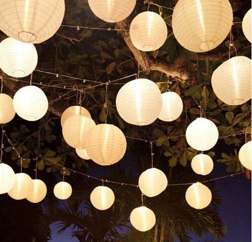 10 Stücke weiß Papierlaterne Laterne Deko Feier Lampions Papierlampen (6 \')