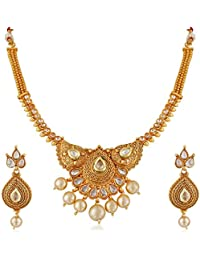 Amaal One Gram Pearl Gold Traditional Wedding Stylish Necklace Jewellery Sets With Earrings For Women/Girls -JSA043