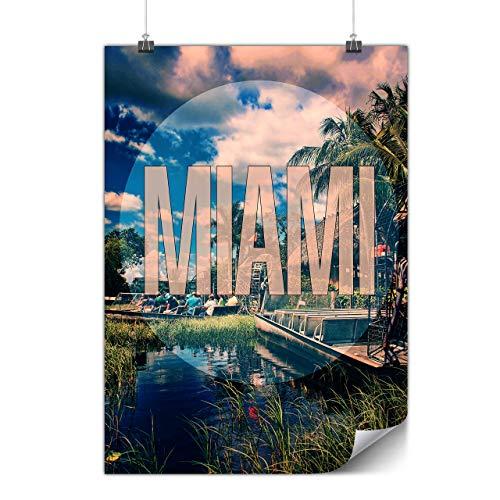 Wellcoda Miami Strand Stadt Mode Plakat Sommer A4 (30cm x 21cm) Mattes schweres Papier, Ideal für die Gestaltung, Einfach zu hängen Kunst (Miami Art-deco-poster)