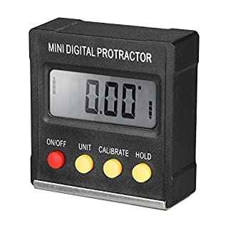 KKmoon Multifunctional Mini Digital Display Protractor Inclinometer Level Meter 0.1 Degree Resolution and 4 * 90 Degree Range Bottom with Magnet