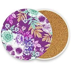 FAJRO - Posavasos con diseño de calavera y flores, tamaño grande, 9,9 cm, para todas las tazas, madera, 1, 4 pieces set