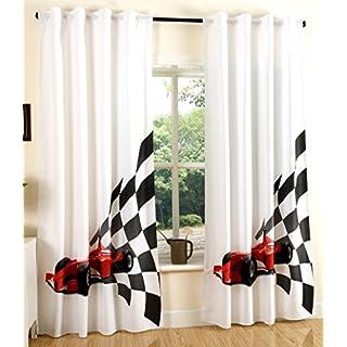 Gardinenbox Vorhang Schal Blickdicht verdeckte Schlaufen Universalband DigitaldruckRennwagen 2 Stück 245x140 (Höhe x Breite cm), 204902