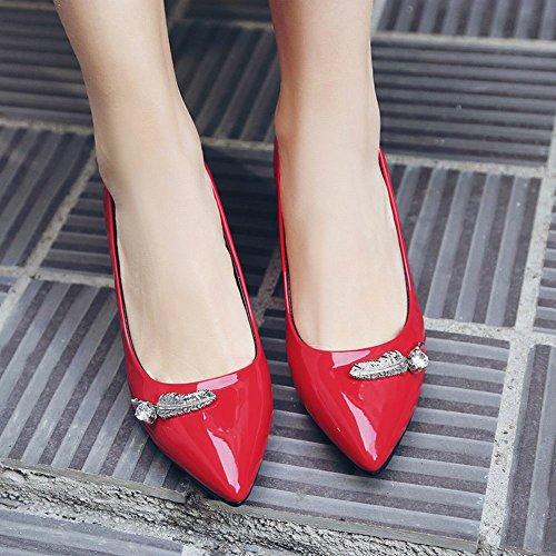 MissSaSa Donna Scarpe col Tacco Elegante Slipsole Rosso